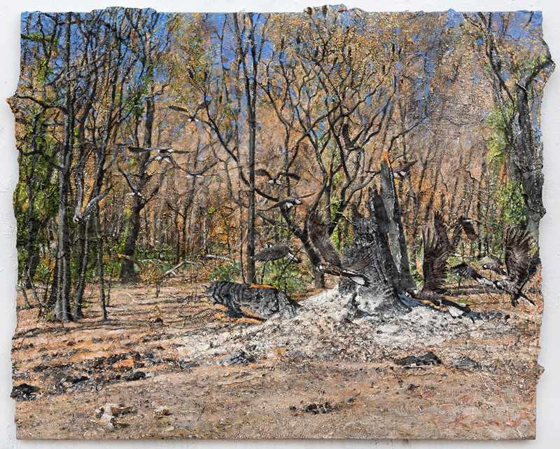 1. 112X92 cm SOLD After-the-fire-Waroona.April-2016-oil-and-mixed-media