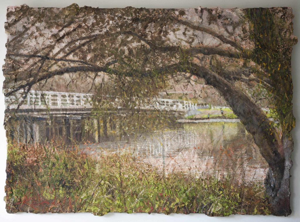 2. COMMISSION  Riverton Bridge.oil and Mixed Media .26X36(66X92 cm) March 2017 Peter Kendall