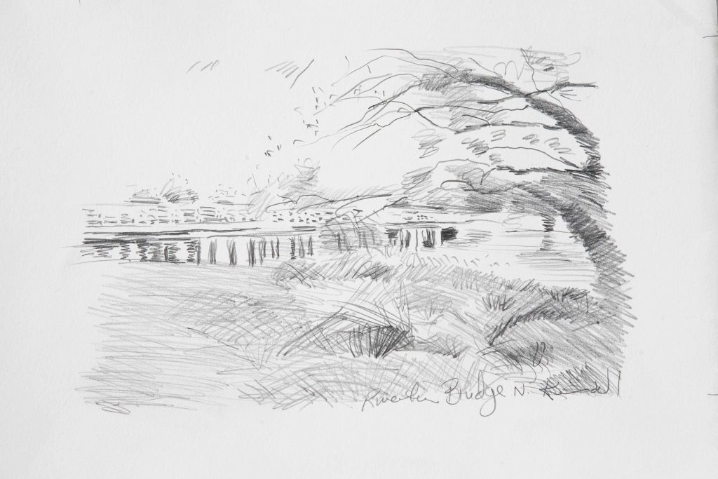 2. COMMISSION Study Riverton Bridge N.pencil .17X24cm March 2017.Peter Kendall