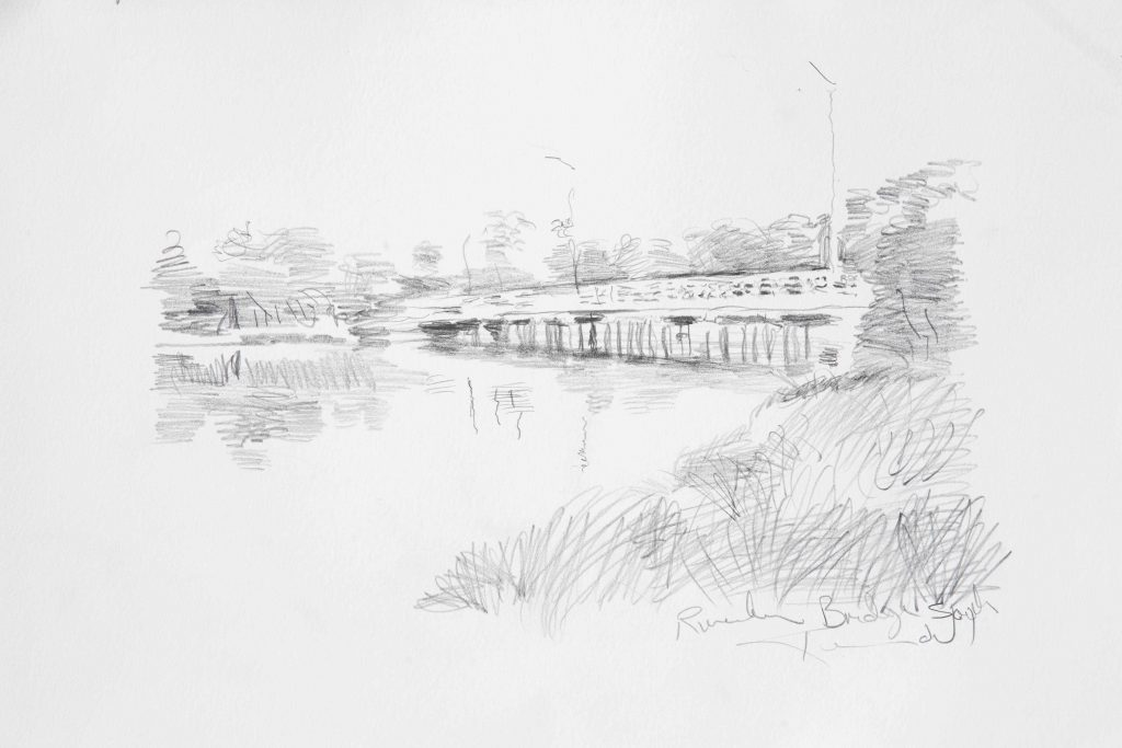 2. COMMISSION Study Riverton Bridge South .pencil .17X24cm March 2017.Peter Kendall