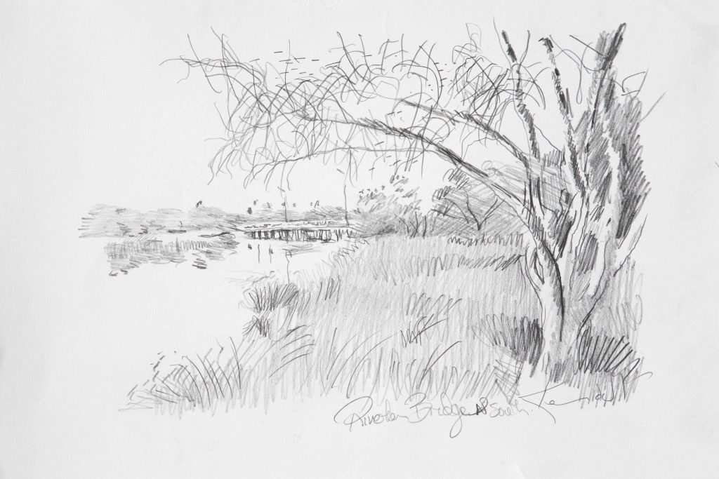 2. COMMISSION Study Riverton Bridge north .pencil .17X24cm March 2017.Peter Kendall