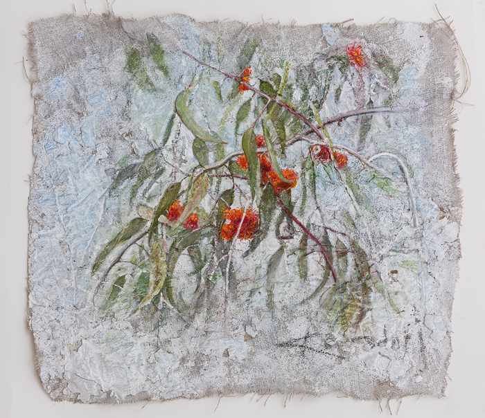 3. 77X89 cm SOLD  red-and-silver.Feb-2016-mixed-media-