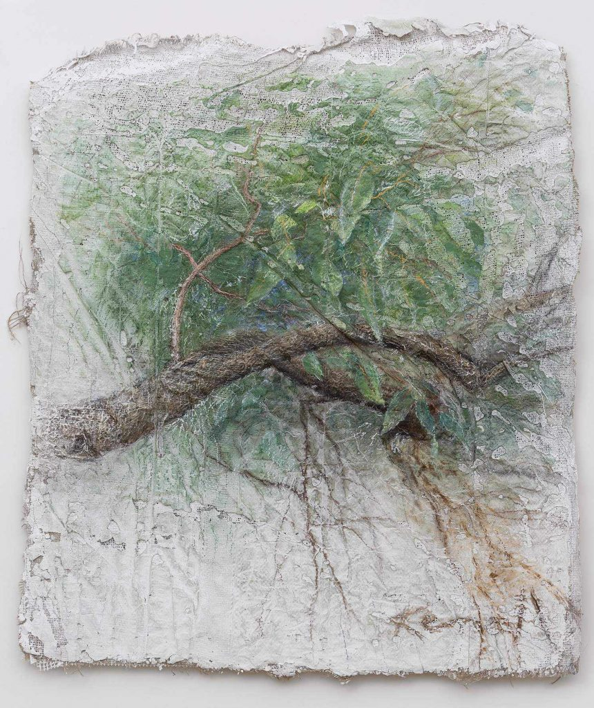 3. 77X89 cm branch-and-leaves.Feb-2016-.mixed-media-77by-89-Peter-Kendall