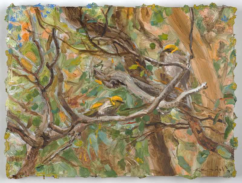 9X12 inches  Bush-birds.-Nov-2016-oil-on-board SOLD