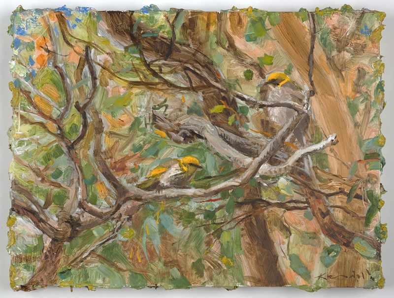 9X12 inches  Bush-birds.-Nov-2016-oil-on-board SOLD