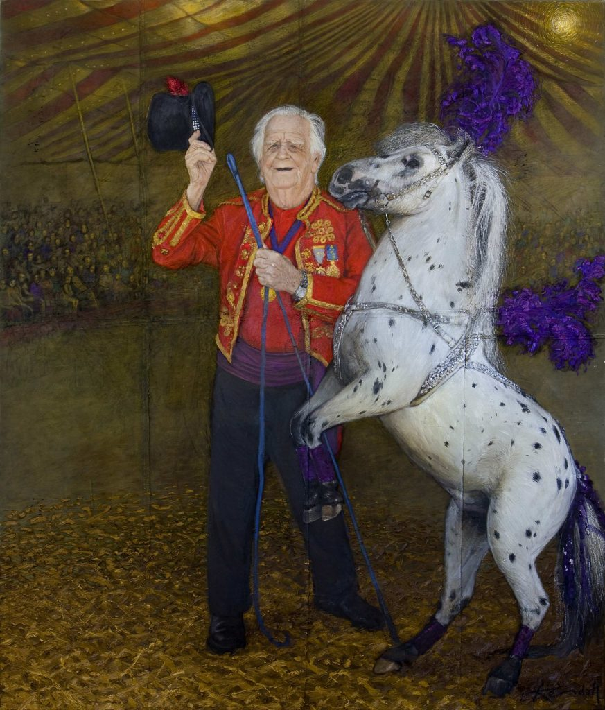Archibald prize entry commission         Mr Circus Australia Doug Ashton oil on remnants of the last