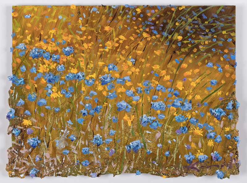 SOLD 9X12 inches blue-and-gold-cascade.nov-2016-.oil-on-board